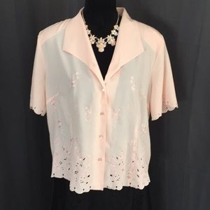Vintage Haband Pink Button Down Embroidered Top